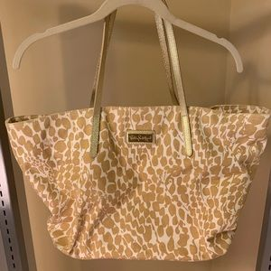 Lilly Pulitzer Gold and White Pattered Tote